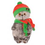 Budi Basa Мягкая игрушка Кот Басик в оранжево-зеленой шапке и шарфике 20 см