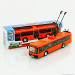 """Инерционный троллейбус """"Автопарк"""" (свет, звук), оранжевый, 1:43"""