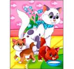 """Алмазная вышивка блестящая на подрамнике """"Кошка с котятами"""" 17х22 см."""