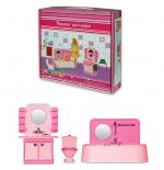 Ванная комната для кукол, розовая