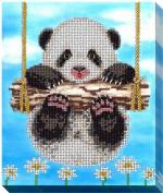 "Алмазная мозаика с мольбертом ""Панда на качелях"""