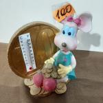 Керамическая сувенирная Мышка с термометром