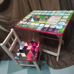 Детский набор стол + стульчик(с алфавитом и таблицей умножения) складной