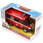 Машина спецслужба-Пожарная инерц.на бат(свет/звук) в коробке